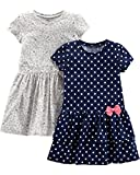 Simple Joys by Carter's Girls' Toddler 2-Pack Short-Sleeve and Sleeveless Dress Sets, Navy Dot/Gray Kitty, 3T