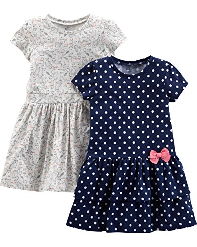 Simple Joys by Carter's Girls' Toddler 2-Pack Short-Sleeve and Sleeveless Dress Sets, Navy Dot/Gray Kitty, 5T
