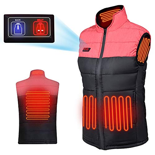 Wanfei Heated Vest for Men/Women, Lightweight Electric Waistcoat, Warm Jacket with USB Insert for Winter Skiing Hiking Travel Fishing Rose Red L