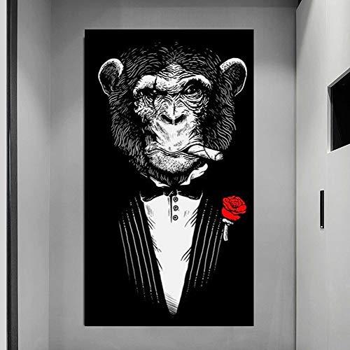 KWzEQ Divertido Animal Blanco y Negro Traje de león Carteles de Animales e Impresiones en Lienzo Pintura Abstracta Arte de Pared 40X70cmPintura sin Marco