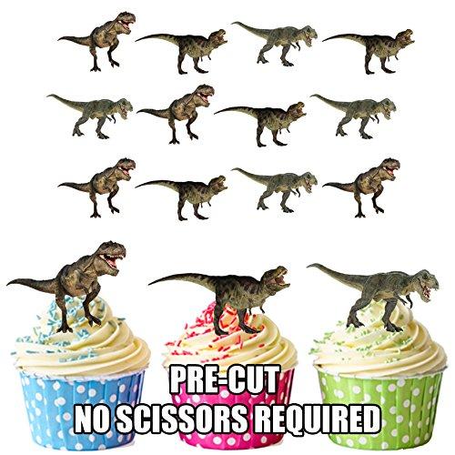 Set de decoración para tartas y magdalenas,comestibles, con diseño de dinosaurio T-Rex