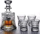 Decantadores Whisky Decanter Vasos Vidrios Whisky Decanter Tumblers Decantadores de Whisky Gafas y Decanter Set Non-Lead Crystal Alcohol Regalo Idea para Scotch Bourbon Cóctel Vodka Cognac decantador