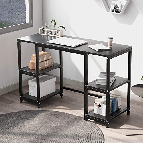 Computer Desk with 4 Tiers Shelves -47.2 inch Writing Study Desk with Bookshelf Modern Home Office Desk Stable Corner Desk for Small Space Steel Frame & Wood Desk (Black)