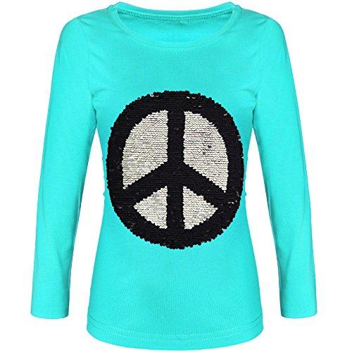 BEZLIT Mädchen Langarmshirt Wende-Pailletten Sweatshirt Bluse Lang 21511 Grün Größe 152