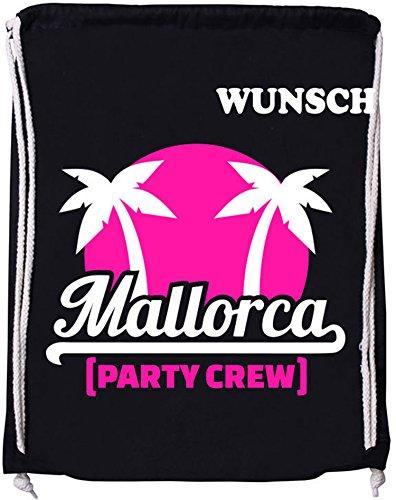 EZYshirt® Mallorca Party-Crew | Wunschname | Baumwoll Stoffbeutel