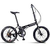 DJYD Erwachsene Bikes Folding, 20' 7-Gang-Scheibenbremse Mini Faltbare Fahrrad, High-Carbon Stahl leichte, tragbare Verstärkter Rahmen Pendler Fahrrad, Rot FDWFN (Color : Black)