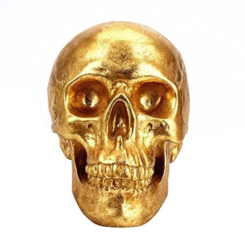 MaxTom Cabeza Humana Hueso Dorado Resina Cráneo Artesanía Cajas de Dinero Hucha Halloween Moderno Europeo Creativo Decoración del hogar (Color : Gold, Size : 20×14×14.5cm)