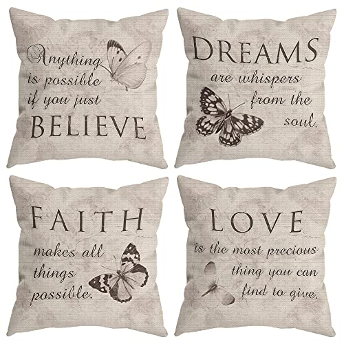 HUYAW Farmhouse Rustic Butterfly Believe Dreams Faith Love Throw Pillow Covers, Inspirational Butterfly Gifts for Women, Motivational Quotes Pillow Cases 18 x 18 Inch Home Room Bed Sofa Decor Set Of 4