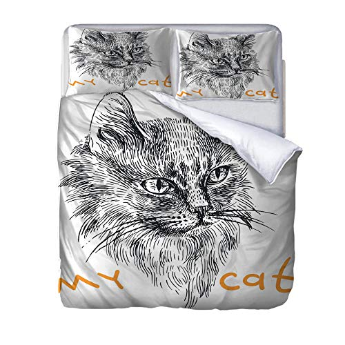 zzqxx Home Superking Duvet Cover Set my cat Bed Set Quilt Cover with Zipper Soft 100% Polyester Includes 2 Pillow Cases 3D Printed Bedding for Boys Girls Adults 260x220cm