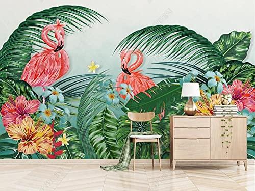 Papel Pintado Pared Papel Flamingo De La Selva Tropical Fotomurales 3d Decoración Papel Tapiz Dormitorio Sala Custom Murales Fondo Pared 300x210cm