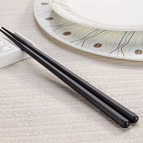 Lorenlli 1 Paar japanische Essstäbchen Legierung rutschfeste Holzfarbe Sushi Essstäbchen Set chinesische Geschenk Familie Freunde Kollegen Geschenke
