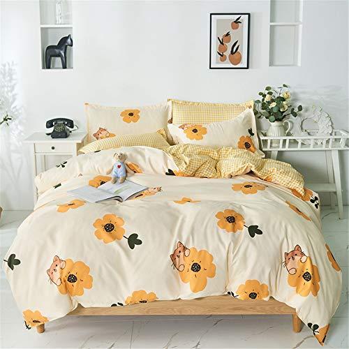 Bettbezug Set, DOTBUY Modern Bettwäsche-Set 3 TLG Bettwäsche Set Polyester Super Weiche mit Reissverschluss Atmungsaktive Bettbezug Kissenbezüge Bettlaken (Blumenelf,220x240cm)