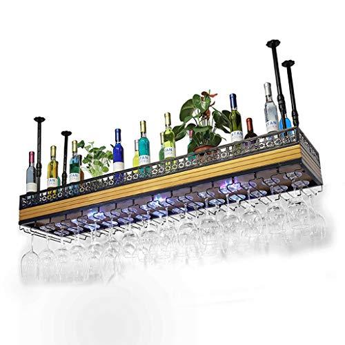 Botelleros para Vino Wine Rack Wine Glass Holder con Light Wood Plus Iron Black Multi-Size Goblet Rack Bar Sala de Estar (Tamaño : 120 * 35cm)