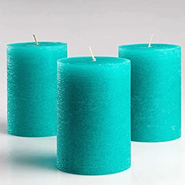 Set of 3 Turquoise/Teal Pillar Candles 3  x 4  Unscented Fragrance-Free for Weddings, Church, Home Decoration, Restaurants, Spa, Smokeless Cotton Wick