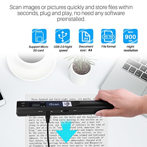AOZBZ Portable Document Scanner Dokumentenscanner, 900DPI Mobile USB Handscanner A4 Farb Photo Scanner Handy Scan (JPG/PDF-Format, Hochgeschwindigkeits-USB 2,0,Brauchen Micro SD/TF Card aber Nicht Inbegriffen) - 6