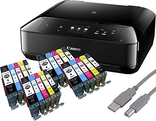 Canon PIXMA MG5750 Multifunktionsgerät schwarz + USB Kabel & 20 YouPrint Tintenpatronen (Drucker, Kopierer, Scanner, WLAN) - Originalpatronen ausdrücklich Nicht im Lieferumfang!