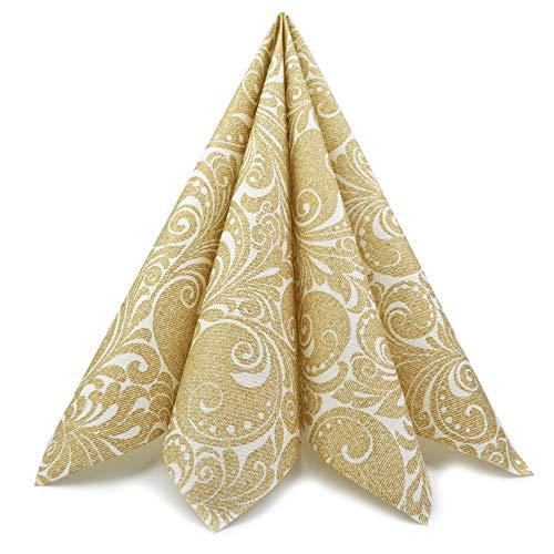 finemark 100 Stück Papierservietten Gemustert Gold 40 x 40 cm (0,17€/Stück) Servietten Tissue 3-lagig 1/4 Falz Hochzeit Dinner Geburtstag festlich