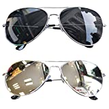 myfashionist 2 Stück Pilotenbrille Verspiegelt Fliegerbrille Sonnenbrille Pornobrille Brille