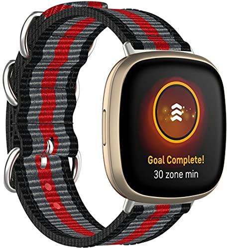Nylon Trenzado Correa de Reloj Compatible con Fitbit Versa 3 / Fitbit Sense, Clásicos exquisitos Pulseras de la Correa de los Hombres (Pattern 8)
