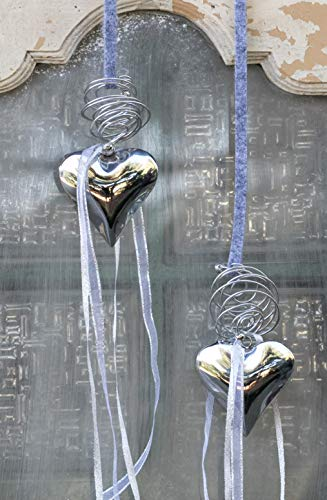 HIKO-EVENTDEKO Fensterdeko 40 Silber Metallherz 11 cm/Silber Draht/Fensterhänger modern Fensterhänger Shabby Fensterdekoration