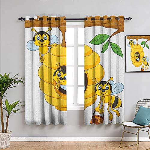 Paneles de cortina para dormitorio, cortinas de 182 cm de largo con ramas de árbol con colmena y abejas miel divertido insecto duro mascota Traer belleza W72 x L72 pulgadas amarillo marrón verde