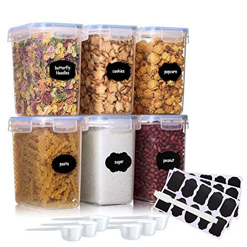 JOLIGAEA 1.6L Vorratsdosen 6 Set, Aufbewahrungsbox Küche Luftdicht Behälter aus Plastik Mit Deckel, Vorratsgläser zur Aufbewahrung Nudeln, Getreide, und für Futter Haustiere, BPA frei, Mit Löffel