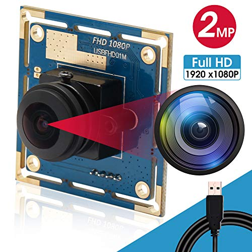1080P Fisheye Camera High Speed 640x480 100fps Webcamera USB with Camera for Industrial 180 Degree Wide Angle USB Camera Module 2MP Webcam Free Drive UVC with Android Windows Linux PC Mac(180°