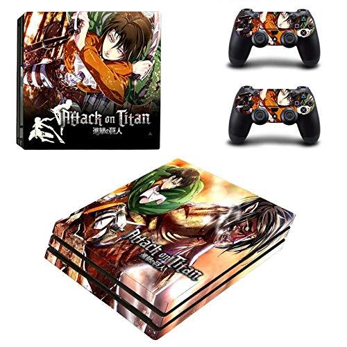 FENGLING Attack On Titan Anime Pegatina para Playstation 4 Pro Ps4 Pro promoción Consola + 2 uds Controlador película Protectora