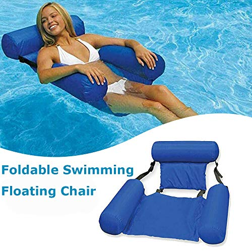 MandoPon Chair Float Hammock Inflatable Pool Float Chair, Seat Pool Float Chair for Adults Lake Swimming Floating Chair Pool Seats Lounger Portable Lazy Water Bed Lounge Chairs 1Pack