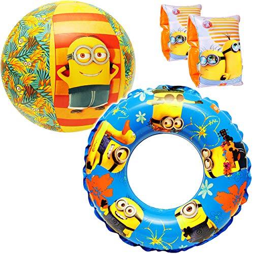 alles-meine.de GmbH Set _ Schwimmflügel & Schwimmring + Ball -  Minions  - aufblasbar - 2 bis 6 Jahre - Schwimmärmel jeweils 2 Luftkammern ! - Schwimmhilfe - für Jungen Mädchen..