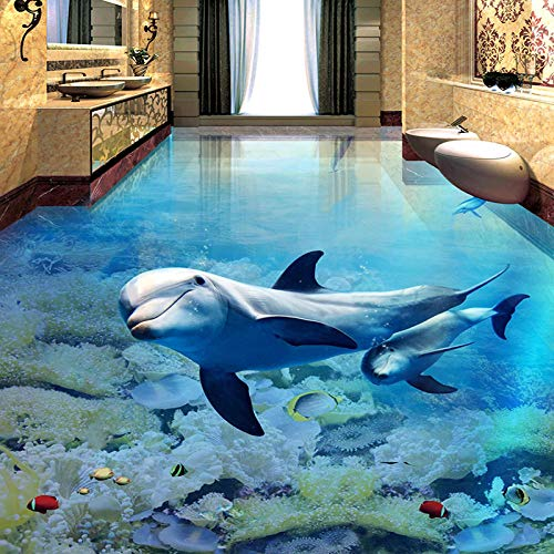 Suelo Pvc Autoadhesivo Papel Pintado De Suelo 3D Personalizado Dolphin Underwater World Sticker Mural Baño Suelo Papeles De Pared Autoadhesivos A Prueba De Agua Decoración Para El Hogar-350 * 245Cm