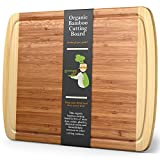 GREENER CHEF Extra Large Bamboo Cutting Board - Lifetime Replacement...