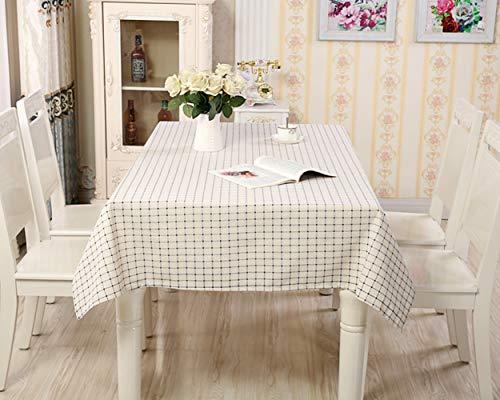 Wondder Nappe Impression de Grille de Nappe en Lin de Coton pour la décoration de Cuisine à la Maison de Nappe de Couverture de Table Multifonctionnelle (Blanc Pointillé, 140x140cm(55x55inch))