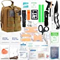268 Pieces Survival First Aid Kit Emergency Trauma Kit Molle System All-Purpose Portable Compact First Aid Kits for Minor Cuts, Scrapes, Sprains & Burns, for Car, Home, Travel, Camping and Hiking