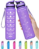 Elvira 32oz Large Water Bottle with Motivational Time Marker & Removable Strainer,Fast Flow BPA Free Non-Toxic for Fitness, Gym and Outdoor Sports-Purple