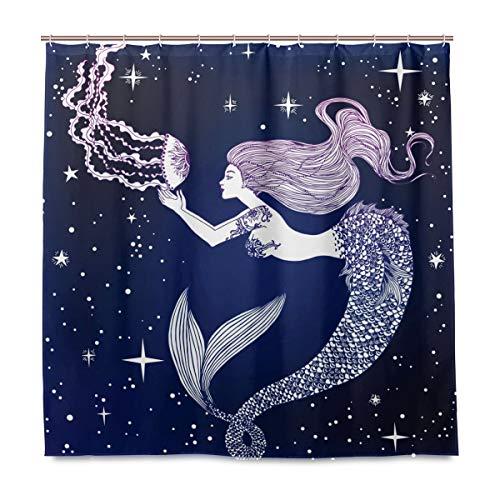 BIGJOKE Duschvorhang, Meerjungfrau, Quallen, Galaxie, schimmelresistent, wasserdicht, Polyester, 12 Haken, 183 x 183 cm, Heimdekoration