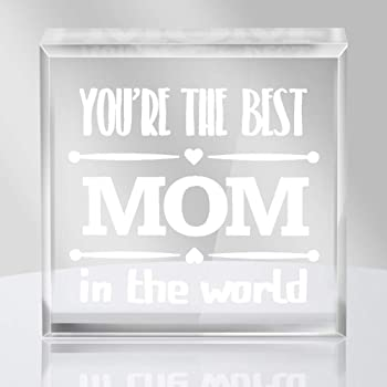 "Hohomark Mothers Day Keepsake and Paperweight for Mom from Son Daughter, YOU'RE THE BEST MOM IN THE WORLD Birthday Keepsake for Mom 4"" x 4"""