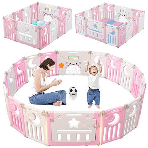 Dripex Laufgitter Laufstall Baby Absperrgitter 14-Paneele Schutzgitter Krabbelgitter für Kinder aus Kunststoff mit Tür und Spielzeugboard (14-Paneele Pink-Weiß)