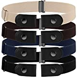 4 Pieces No Buckle Stretch Belt Buckle-free Belt Invisible Elastic Belt with 4 Pieces Buckles for Jeans Pants