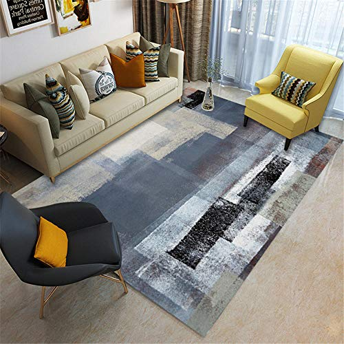 Kunsen Alfombras Lavable Alfombra Tinta Gris Negra diseño geométrico Sala de Estar Mesa de Centro Alfombra Resistente a Las Manchas Diseño Moderno Interiores La alfombras 50 * 80cm