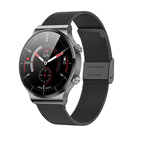 DASLING Smartwatch 1.3 'HD Voll TouchscreenHombres Mujer Inteligente Deporte Bluetooth-Anruf EKG Rastreador Pulsuhr Pantalla de seguridad IP68 Descarga para Android iOS(negro)