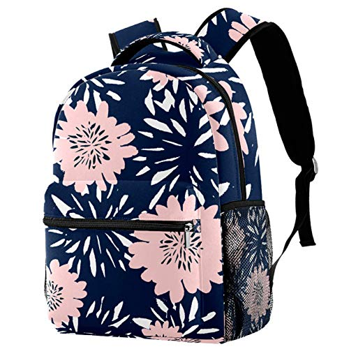 Flowers in Blue and Pastel Pink Pattern Backpack for Teens School Book Bags Travel Casual Daypack