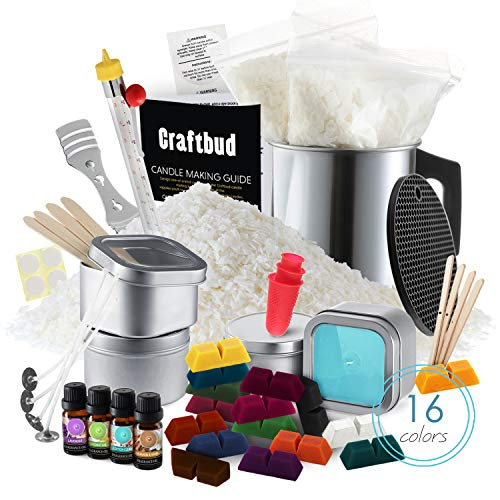 CraftBud Candle Making Kit - 58 Pieces Soy Candle Making Kit - Complete Candle Maker Kit - Best Candle Maker Kit for Adults and Beginners - Candle Kit with 16 Colors