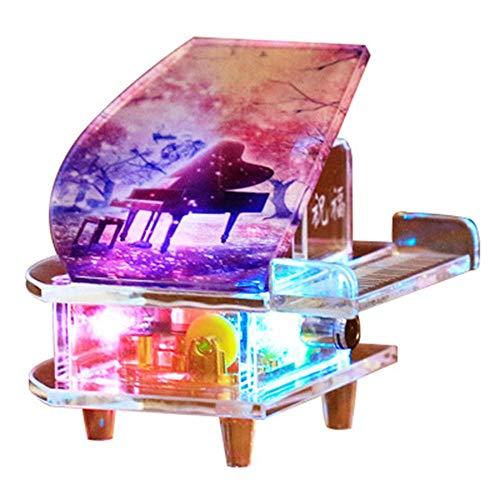 CDA Products Nueva Imagen de Cristal Pulido Libre, Caja de música de Movimiento de Mecanismo de Reloj de Piano de Cristal