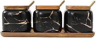 Vencer Black Matte Marble Ceramic Seasoning Jar Condiment Pots Kitchen Accessorie Set,3 Pack,Wooden Lids,Wooden Spoon and ...