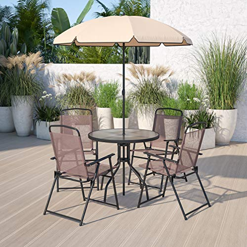 Flash Furniture Nantucket 6 Piece Brown Patio Garden Set with Table, Tan...