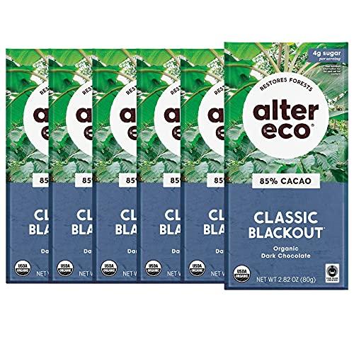 Alter Eco | Classic Blackout | 85% Pure Dark Cocoa, Fair Trade, Organic, Non-GMO, Gluten Free Dark Chocolate Bar (1 Count (Pack of 1))
