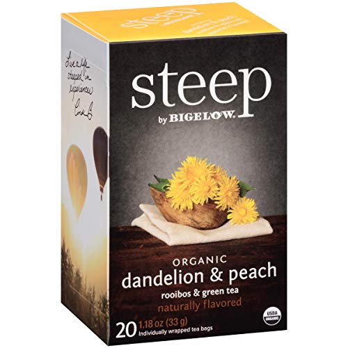 steep by Bigelow Organic Dandelion and Peach with Rooibos and Green Tea Bags, 20 Count Box (Pack of...