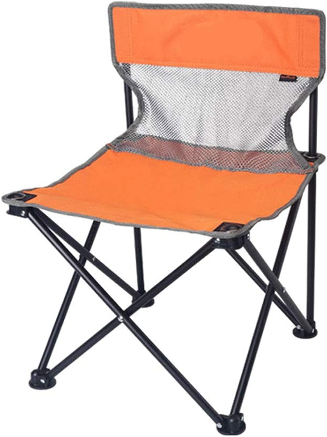 LNYJ Outdoor Portable Folding Chair Detachable Home Indoor Chair Camping Picnic Stool Beach Fishing Chair Light Weight Bearing Strong Oxford mazza (color   orange, Size   Small)
