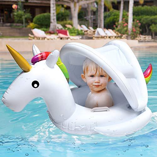 Soyoekbt Baby Pool Float with Canopy Kids Unicorn Float Swimming Ring Unicorn Float 2-6 Years